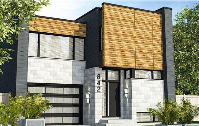 O acabamento em madeira agrega à estética desta casa moderna
