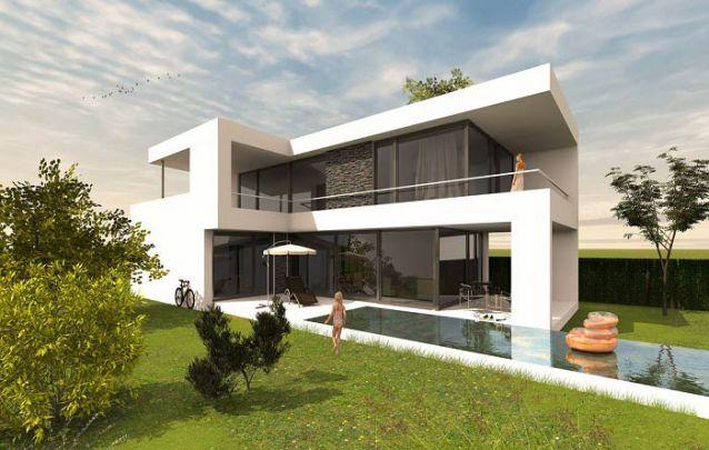 """Projeto de casa moderna em """"L"""" com piscina"""