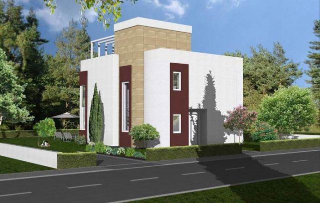 Os toques em marrom escuro valorizam o projeto externo desta casa moderna