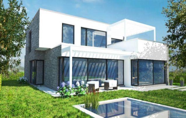 Mais uma opção de casa moderna que busca otimizar o uso da luz natural através de janelas amplas