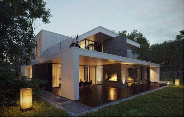 Casa moderna com design linear