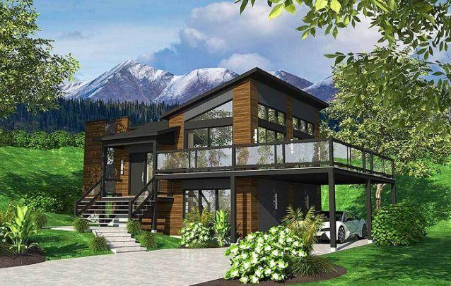 Uma opção de sobrado com arquitetura moderna para quem está em busca de casas modernas para servir de inspiração