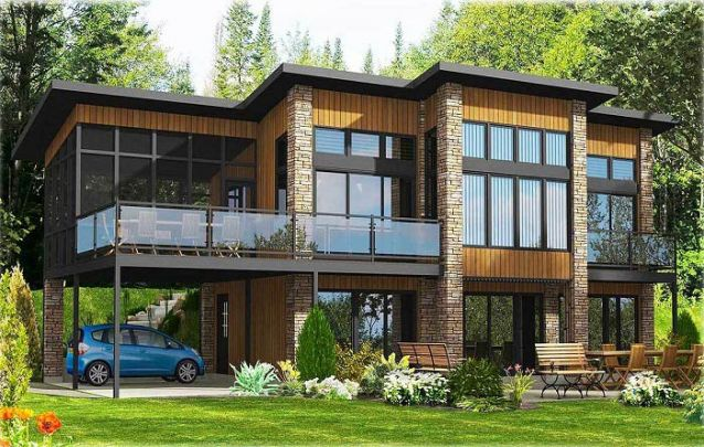 Pedra, madeira e metal são ótimos materiais para compor casas modernas com estilo industrial rústico