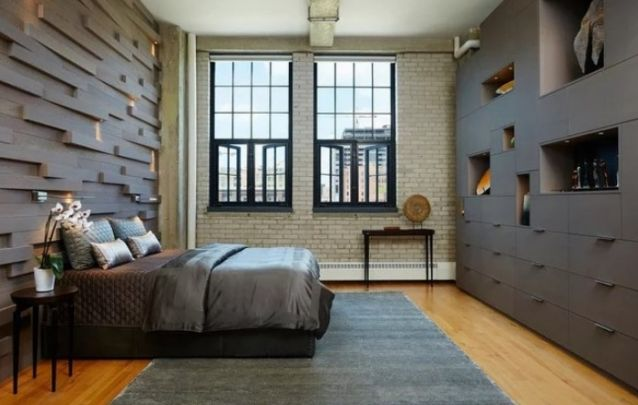Decoração de quarto com muito espaço para armazenamento
