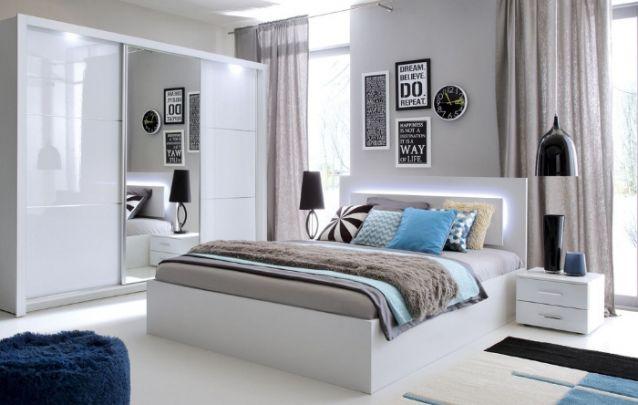 Decoração para quarto clean, com toques de cinza, azul, preto e branco