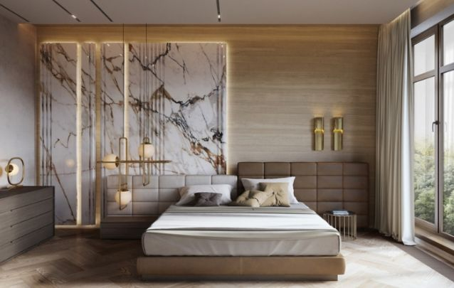 Diferentes nuances de marrom criam uma decoração de quarto elegante