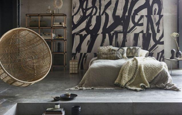 Uma decoração para quarto despojada, com influências do estilo industrial