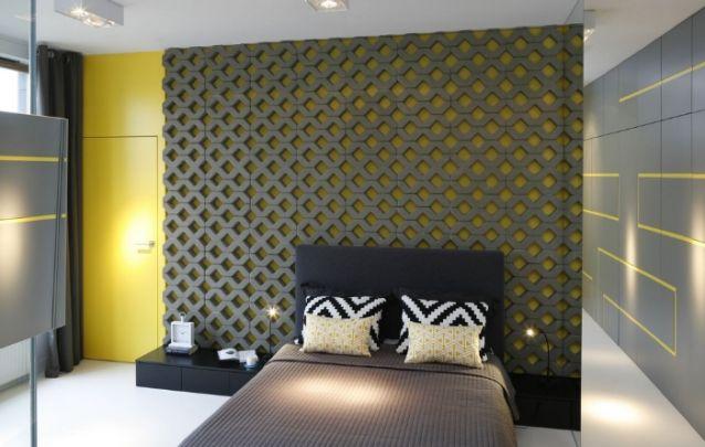 Traga uma parede de destaque dentro da decoração para deixar o cômodo atual