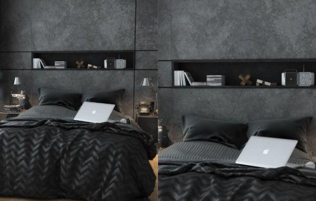 Preto e cinza para uma decoração de quarto sóbria e contemporânea