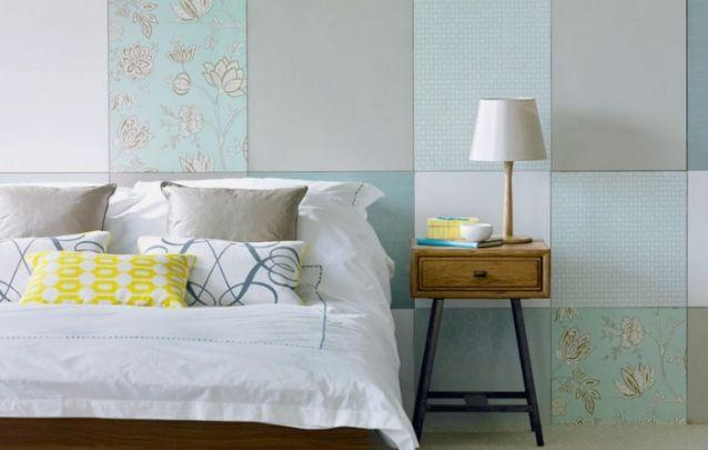 Que tal uma parede inspirada em patchwork? Um charme!
