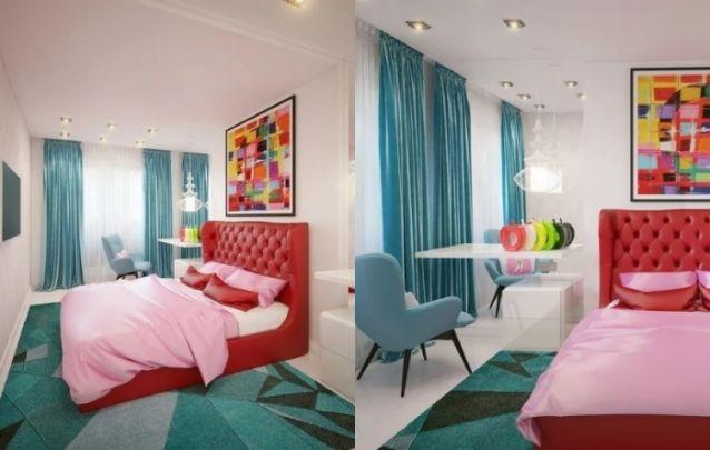 O espelho na lateral da cama auxilia na sensação de amplitude no caso de quartos pequenos