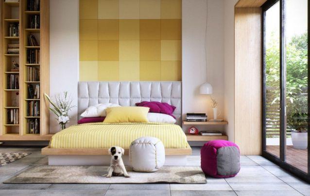 O amarelo é uma ótima opção de cor para o quarto, pois estimula a concentração e a alegria