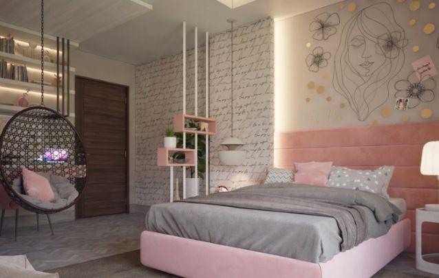 Decoração de quarto delicada e feminina