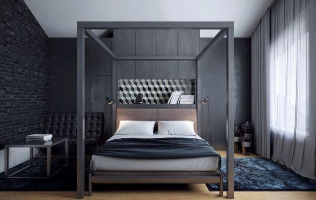 Cinza e preto para um quarto decorado sóbrio contemporâneo