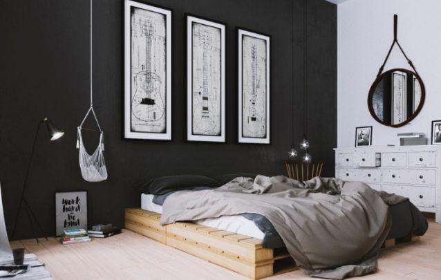 Uma cama de paletes traz personalidade ao projeto