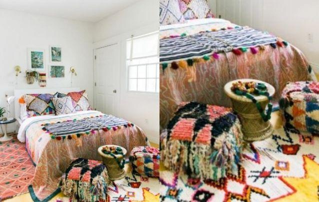E para quem gosta do estilo boho, uma decoração de quarto perfeita!