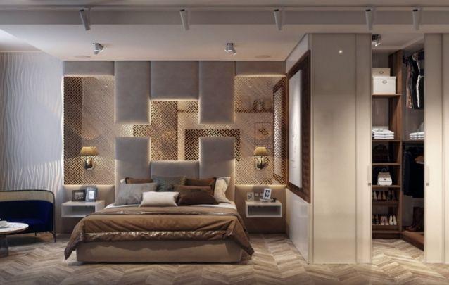 Quarto decorado em harmonia com o closet