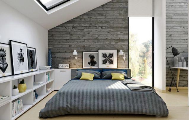 Camas baixas são tendências em quartos decorados modernos