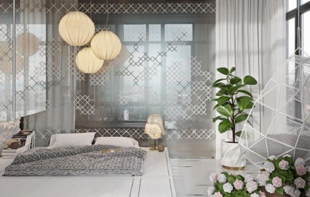 Decoração de quarto delicada e contemporânea