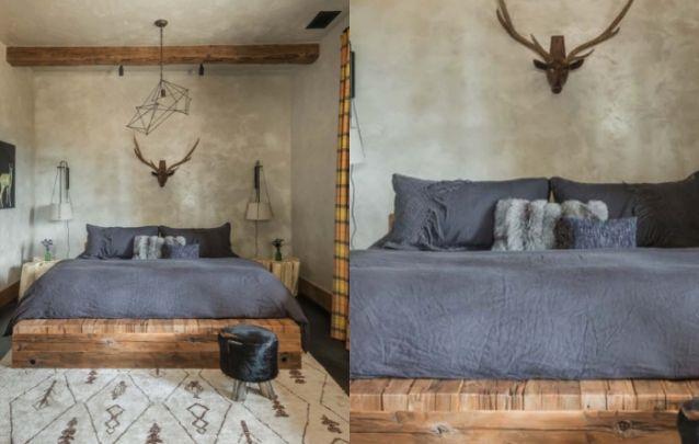 Elementos rústicos e modernos compõem está decoração para quarto
