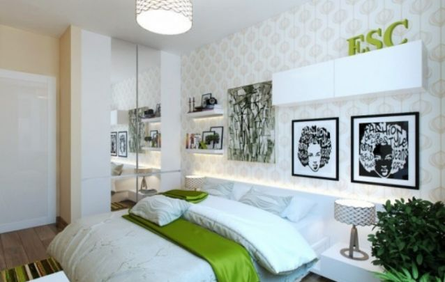 Branco e verde, uma combinação sútil para a decoração de quarto