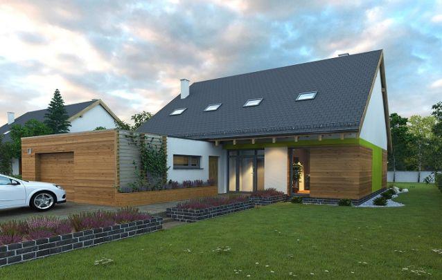 Modelo de casa com garagem coberta e anexa à parte interna