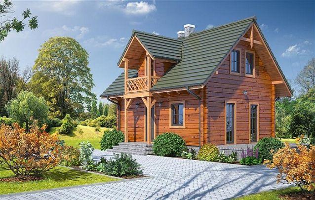 Um modelo de casa em madeira com estilo rústico