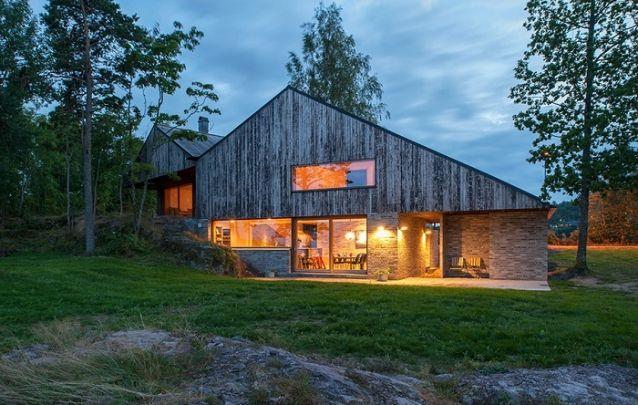 Revestimento em madeira e pedra para uma casa rústica