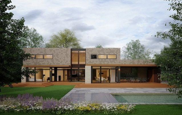 Modelo de casa moderna com dois andares e linhas retas