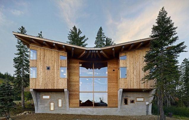 Madeira, concreto e vidro, para uma casa rústica com design original