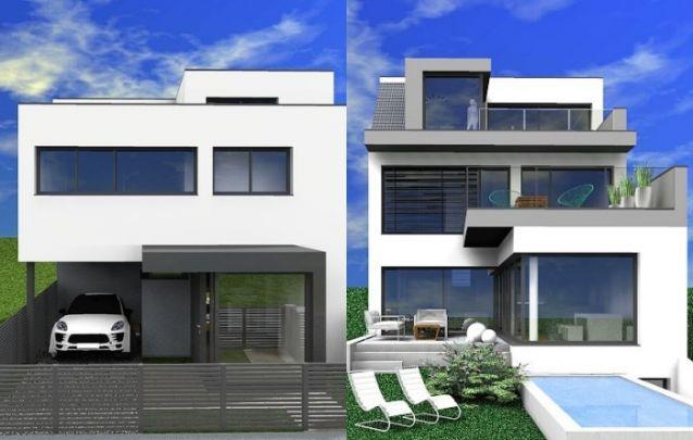 Vista frontal e vista da parte de trás desta casa moderna com três andares