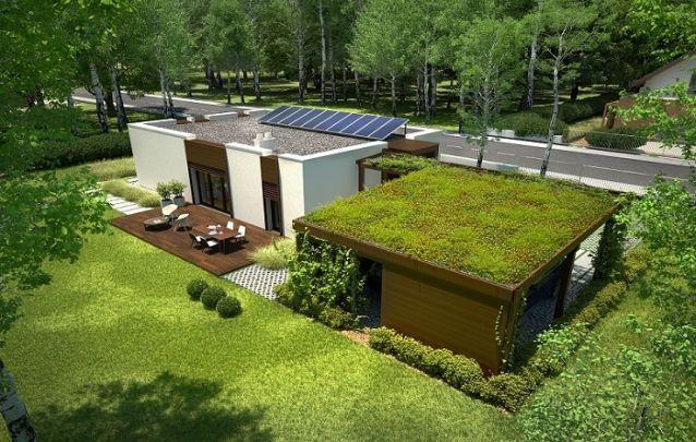 Projeto de casa de piso térreo com terraço verde