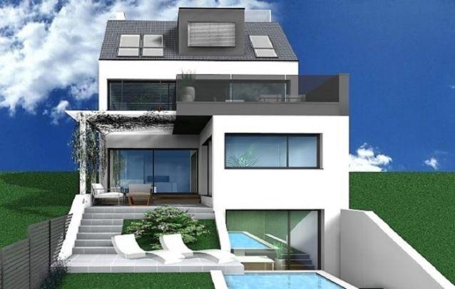 Modelo de sobrado com três andares, sótão e piscina