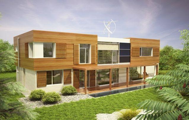 A madeira em destaque valoriza a fachada deste projeto de casa
