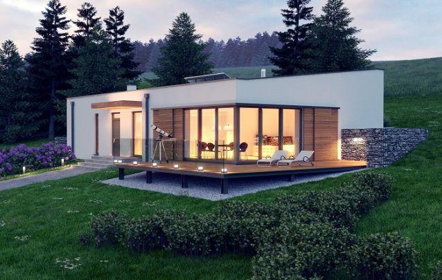 Modelo de casa com deck suspenso