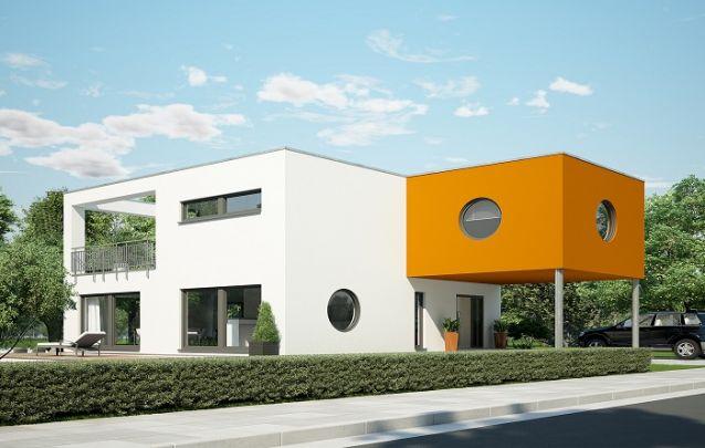Este modelo é destaque dentro de projetos de casas, pois traz um design moderno com toques do estilo retrô, como as janelas redondas, por exemplo