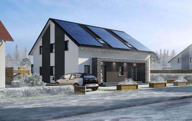Este modelo de casa conta com um avanço feito em pedra na fachada, deixando o design mais elegante