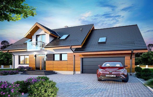 O telhado escuro deixa este projeto de casa ainda mais nobre