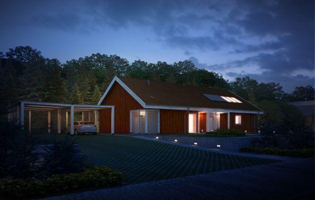 Projeto de casa elegante feita de madeira