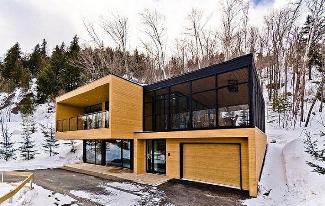 Projeto de casa com madeira, vidro e estruturas metálicas