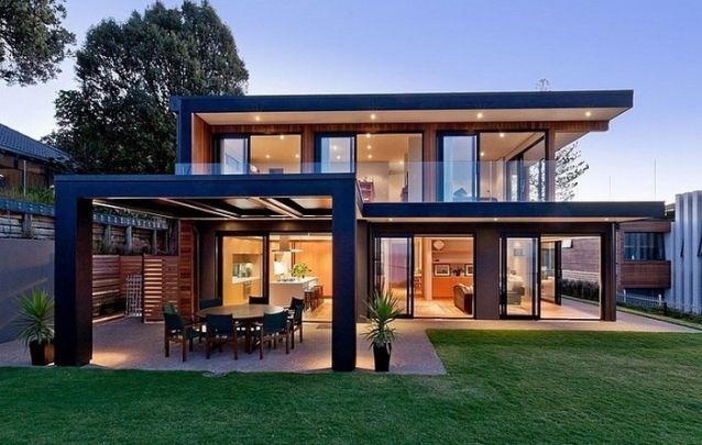 Projeto de casa com sala de jantar externa