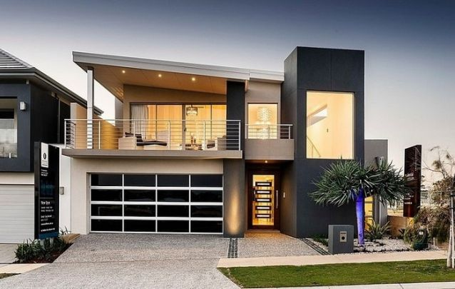 Projeto de casa com telhado de uma água e pé direito duplo