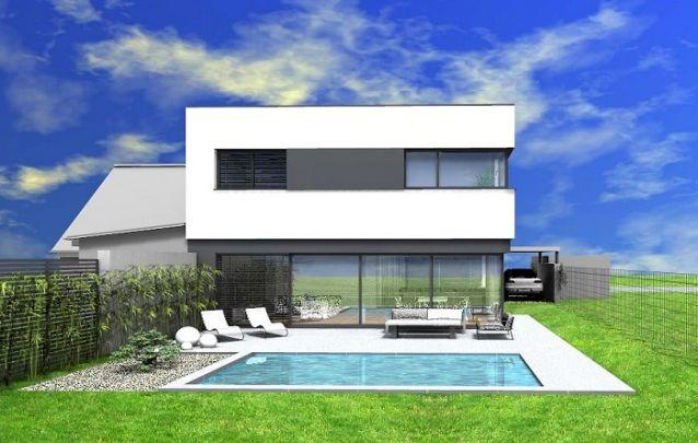 Projeto de casa com telhado embutido, moderno e atraente