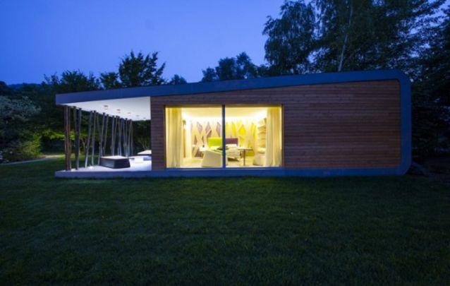 Uma casa de campo com formato único e delicado