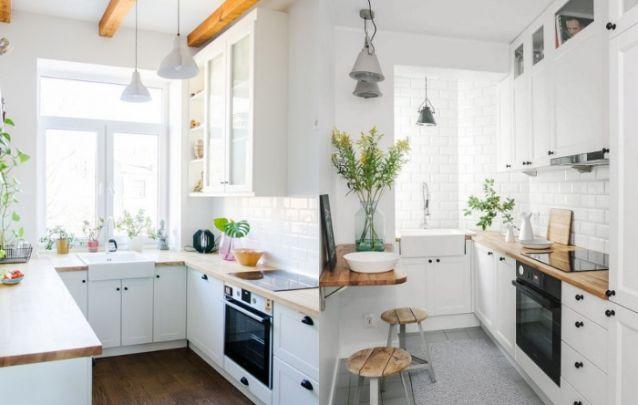 A escolha das cores também é essencial, se você deseja fazer com que sua pequena cozinha pareça maior