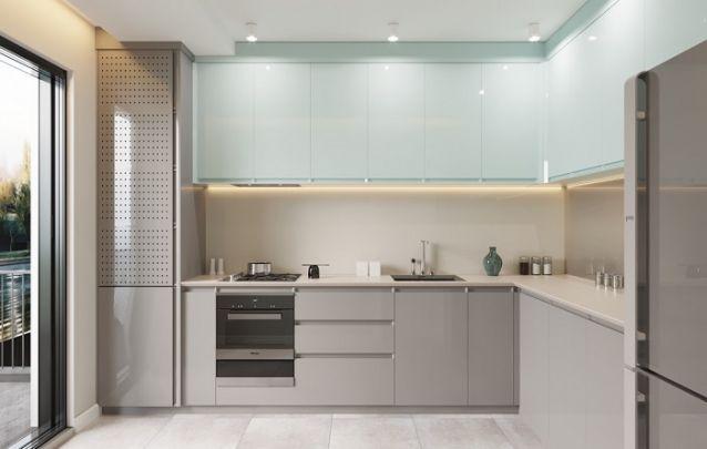 Cozinha planejada em L contemporânea e elegante