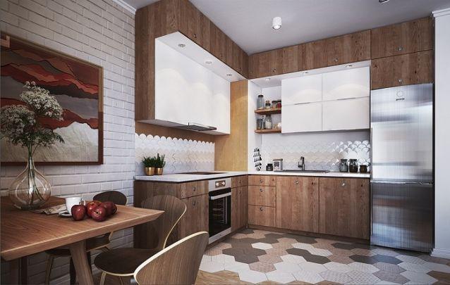 Esta cozinha pequena planejada em L utiliza todo o espaço vertical com armários aéreos