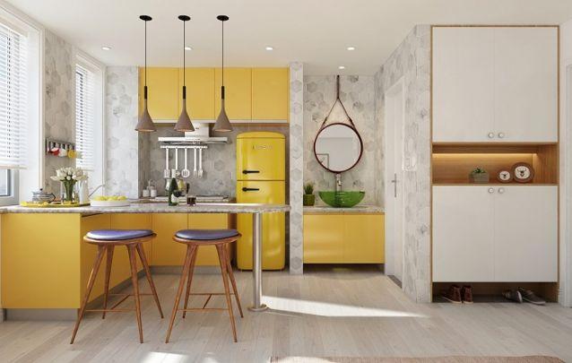 Cozinha planejada em L, pequena e original