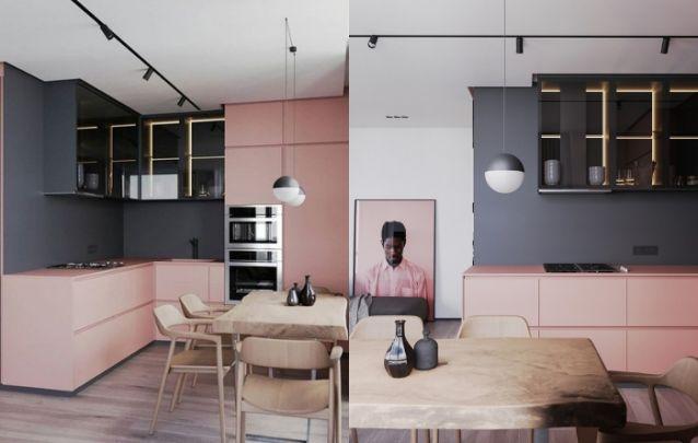 O cinza e o rosa conferem um toque moderno e sofisticado para esta cozinha em L