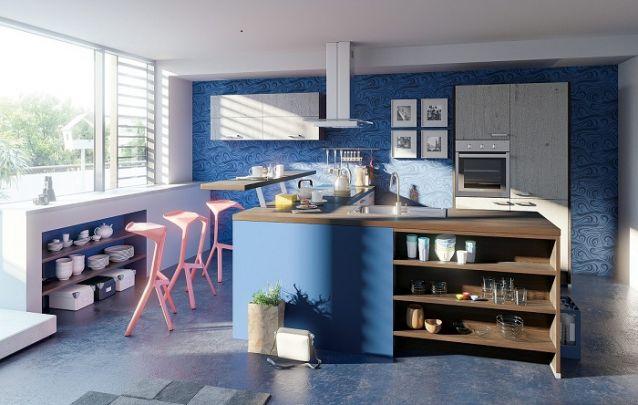 Cozinha planejada em L azul e original